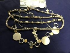 A white metal bead and chain link necklace with T bar, marked 925, together with a fancy link