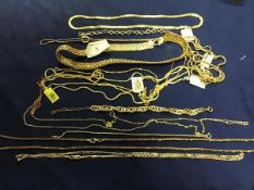 A mixed lot of gilt metal chains, necklaces, bracelets etc., predominantly marked 925 (112g)