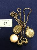 A mixed lot of lockets including 9ct gold and yellow metal together with a fancy link chain (a lot)