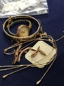 A mixed lot of jewellery including a lady's 9ct gold wristwatch together with a Northmans style axe,
