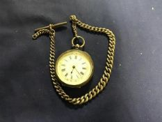 A silver lady's fob watch with white enamelled dial, with gilt decoration and roman numerals, on