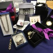 A group of lady's jewellery including watches, earrings, rings, necklaces etc. (a lot)