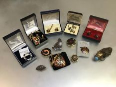 A collection of gentleman's Epns and gilt metal sleevelinks with pins, a collection of lady's