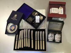 A mixed lot comprising a set of twelve James Allan of Sheffield ivorine handled tea knives, a set of