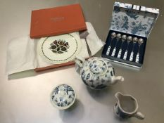 Portmerion Pottery three piece morning teaset in Botanic Blue pattern with matching set of teaspoons