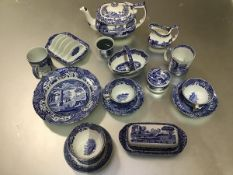 A Spode blue Italianware part breakfast set including two mugs, two teacups and saucers, butter