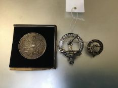 A white metal presentation medal, awarded to F.Duff 1899-1900 and 1901, presented by Sir Alexander
