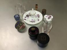 A mixed lot including a Chinese silk covered pill box, a jasparware pill box (a/f), a medicine glass