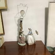 A Spanish Nao porcelain figure lamp, a Girl by Tree Trunk (h.32cm x 13cm x 8cm) and a Spanish Nao
