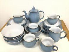 A Denby pale blue and grey pattern breakfast set including tea/coffee pot, milk jug (slight chip