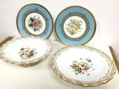 A pair of Aynsley handpainted dessert plates with narcissi and daffodil decorated central panels,