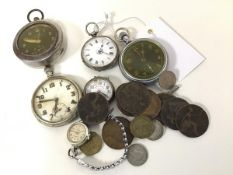 A lady's 19thc silver engraved open faced pocket watch with enamel dial and roman numerals, with