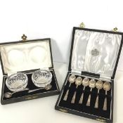 A set of six Birmingham silver Art Deco style coffee spoons, retailed by R.L Christie, Bank
