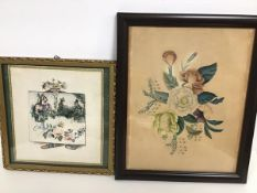 A 19thc watercolour, Figure holding a Panel with Fox and Hound, with Courting Couple in Rose Bower
