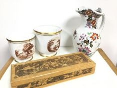 A mixed lot including a glove box decorated by Rose Marie von Binzer, with plain interior, a 19thc