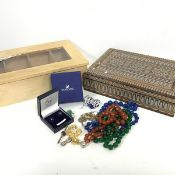 A Polish treen carved rectangular box, a modern pine box with inset glass panel, a collection of