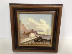 A 19thc style tile painted with Seaside View, decorated with polychrome enamels, mounted in oak
