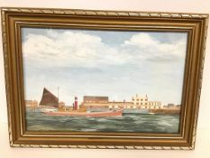 J. Fisk, Steam Drifter on River Yare, Outside Bloomsfield, Great Yarmouth, naive painting in oil