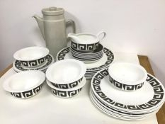 A Wedgwood bone china Susie Cooper design green quaystone pattern part dinner set including five
