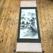 A Chinese scroll painting, depicting a lakeside pavilion in a mountainous landscape, with