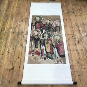 A Chinese scroll painting, on silk, depicting six Deities or Immortals. Panel 106cm by 58cm, overall