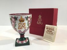 A Royal Doulton Wemyss Ware commemorative goblet, 1980, no. 74 of a limited edition of 500,
