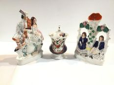 """A group of 19th century Staffordshire comprising: a marriage jug, in a lustre-glaze inscribed """""""