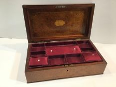 A satinwood-inlaid burr walnut work box, mid-19th century, of plain rectangular form, the cover with