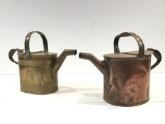 Two late 19th century watering cans, one copper, the other brass, of the same design with fixed loop