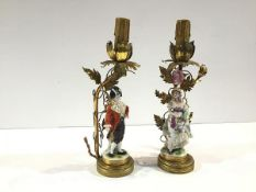 A pair of German porcelain figural table lamps, c.1920 modelled as a lady and gentleman in 18th