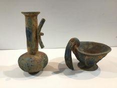 Carlos Van Reigersberg-Versluys (British/Moroccan, b. 1950), Vessel with Riveted Handles and Bird
