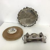 A Birmingham silver bowl with scalloped rim (30.7g), an Epns writing tray with two inkwells and a
