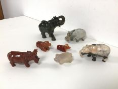A collection of carved hard stone animals including an elephant (h.9cm x 12cm x 5cm), three