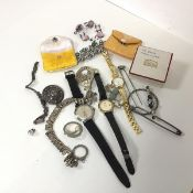 A mixed lot including a gentleman's Rotary wristwatch with the strap marked Mappin & Webb and a