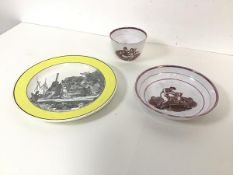 An early 19thc Pompee plate, with a yellow edge and Classical scene to well (d.19cm), and a pink