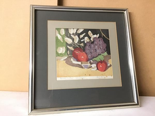 M. C. Romanes, Honesty and Fruit, limited edition print, 13/20, signed in pencil bottom right (