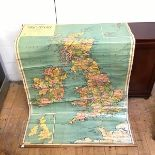 A large wall map of Great Britain, entitled, Phillips Schoolroom map of Great Britain and Ireland,