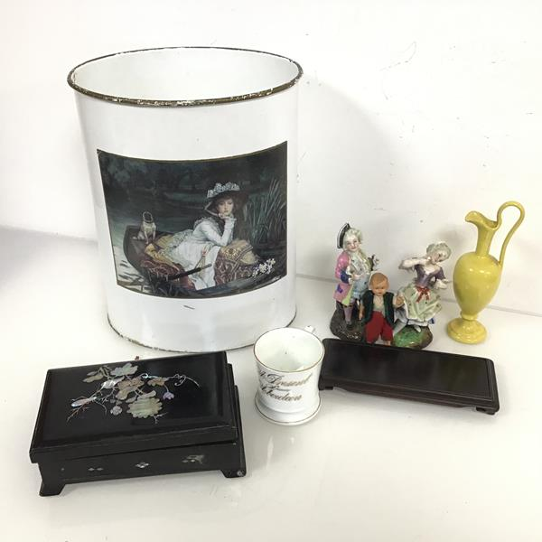 A mixed lot including a waste paper basket with James Tissot's Young Lady in a Boat printed to one