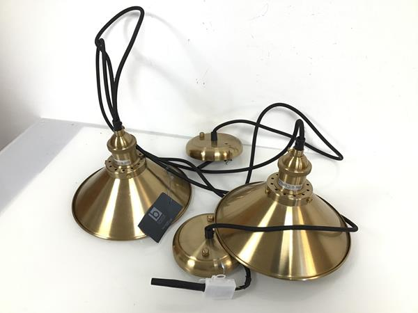 A pair of Broste Copenhagen hanging ceiling lights with circular cone metal shades (d.22cm x 16cm)