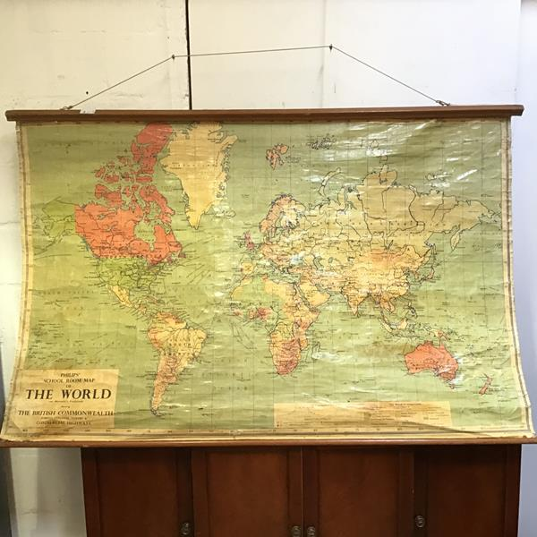 A 1950s wall map entitled Phillips Schoolroom map of the World showing the British Commonwealth