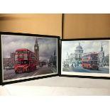 Transportation interest: M Jeffries, Crossing Westminster Bridge, showing a Routemaster bus,