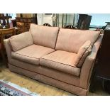 A Drysdale's, Edinburgh style two seater traditional sofa bed, with pull out bed upholstered in pink