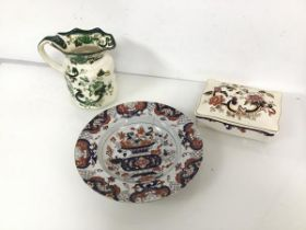 A 19thc Masons Imari style bowl (d.23cm) (a/f), a 20thc Masons water jug in Chartreuse pattern and a