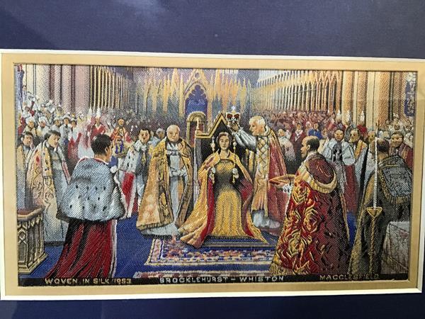 A Brocklehurst-Whiston of Macclesfield stevenograph style woven silk panel, 1953, Queen Elizabeth II
