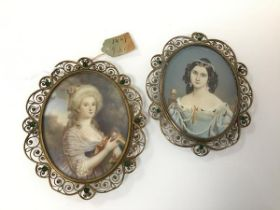 A pair of 19thc portrait miniatures of ladies, one signed to right, Fabry, the other with tag