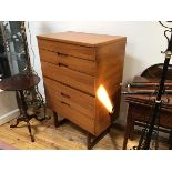 A mid century Uniflex Unit Furniture teak chest of drawers, the rectangular top with moulded edge