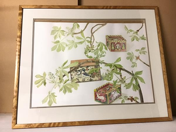 Ella Neustein NDD, Painted Boxes with Chestnut Branches, watercolour, signed bottom right (51cm x