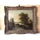Attributed to Edward Williams, River Scene with Windmill, oil on canvas, ex J.A. Cooling & Sons