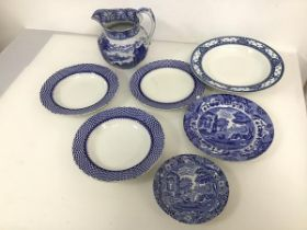 A collection of blue and white china including three mid 20thc. Royal Cauldon shallow bowls with