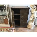 A metal side cabinet, with wooden plank top over two doors, the interior fitted two shelves, on